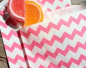 Hot Pink Chevron Paper Favor Bags - MEDIUM Size Goodie Bags (18 Count)