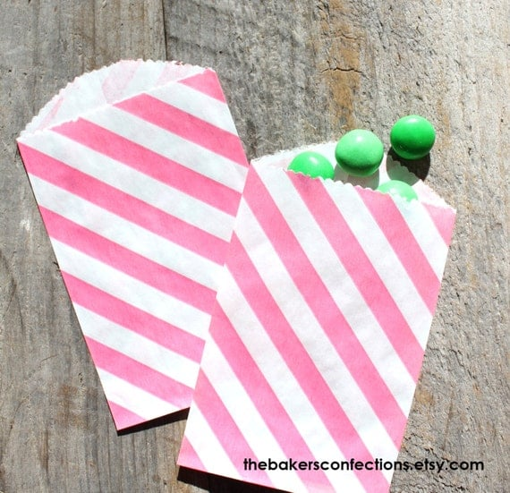Mini Pink Stripe Favor Bags, Mini Candy Treat Bags, Utensil Bags (set of 18)
