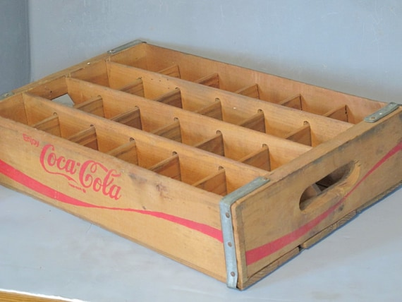 Vintage Wooden Coca Cola Soda Bottle Crate Wood By