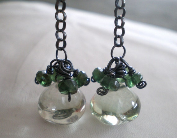 Prasiolite Green Amethyst Onion Briolette Earrings with Forest Green Apatite, Oxidized Sterling Silver