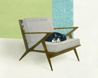 cat on mid century chair 3 - fine art pigment print