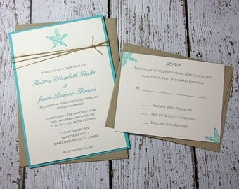 Teal Starfish Wedding Invitations/Beach Wedding Invitation/Summer Wedding Invitations DEPOSIT