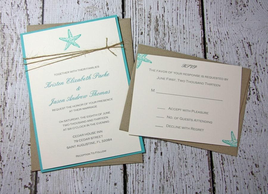 Teal Starfish Wedding InvitationsBeach Wedding – Rustic Beach Wedding Invitations