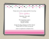Baby Sprinkle Invitations, Baby Shower Invites, or Birthday Party Invites, Dots and Sprinkles, Set of 10 Printed, Free Shipping