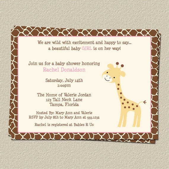 giraffe baby shower invitation with pink for baby girl gentle