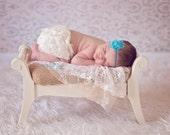 Turquoise Blue Shabby Chic Baby Girl Flower Headband, Newborn Infant Toddler Girls Headbands, Photography Prop