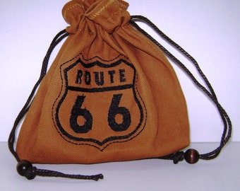 Get Your Kicks - Route 66 on Rusty Brown Heavy Cotton Belt-Bag/Pouch - Tarot, Oracle, Runes, Gaming Dice, Anything