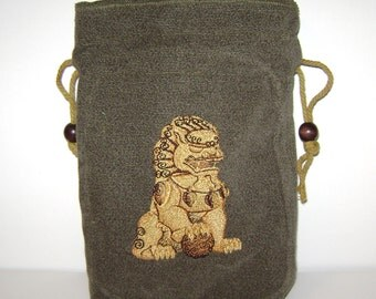 Golden Male Foo Dog on Green Cotton Pouch - Tarot, Oracle, Runes, Gaming Dice, Anything