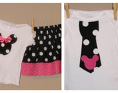 Disney Brother Sister Set - Baby Toddler Girl Boy -Skirt Set and Tie Shirt - Black Pink - Minnie Mickey -Perfect for Disney Trips