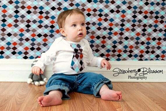 SALE Little Man Tie Onesie Shirt- Boyish Argyle - Perfect for New Baby Photo Shoots - Stylish Boy Tshirt Onesie - Newborn to 5t
