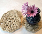 Recycled Cotton Crocheted Coasters Set of 4