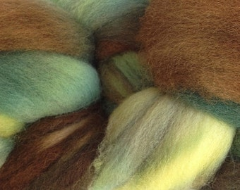 Wool Roving Hand Dyed in Avocado Stone