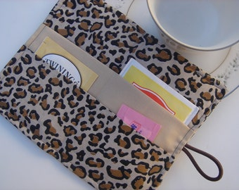 Tea Wallet  Leopard Print Brown and Black