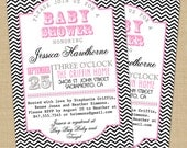 Chevron Poster Style Invitation - PRINTABLE Custom Bridal or Baby Shower, or Party Invitation