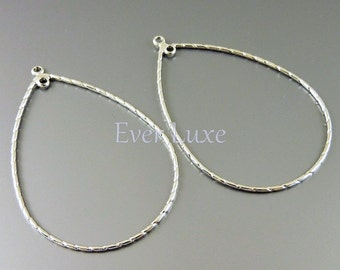 4 SHINY silver teardrop connectors, tear drop frame pendants, handmade jewelry making supplies 1127-BR (bright silver, 4 pieces)