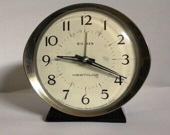 Vintage Big Ben Westclox Alarm Clock / Vintage Clock / Round