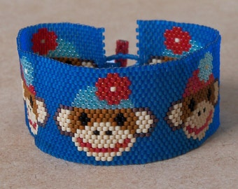 Sock Monkey Bracelet Pattern - Peyote Pattern