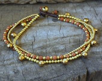 Sweet Gold Sand Brass Bell Anklet