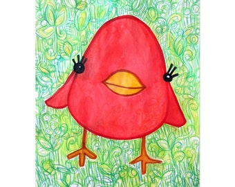 Little Red Bird - 8x10 Print