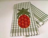 Pineapple Tea Towel -- Sage Green/White -- Small Homespun Appliqued Cotton - N0.1