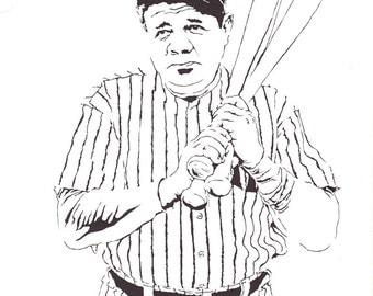 Babe ruth baseball coloring page sketch coloring page for Babe ruth coloring pages