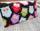 Handmade Fabric Checkbook Cover, Mothers Gift - OWLS