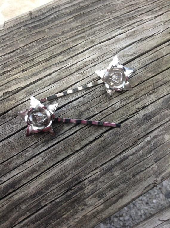 REFURBISHED upcycled vintage roses wedding hair pins