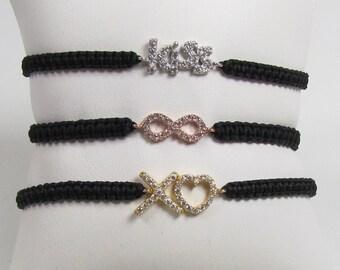Macrame CZ bracelet, Love Bracelet, Infinity Bracelet, Hugs and Kisses Bracelet Your choice of symbol