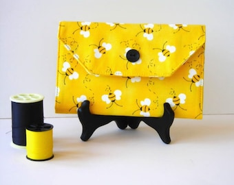 Needle Organizer Wallet -Black and Yellow Needle Holder - Sewing Accessory - Sewing Needle Wallet