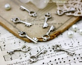 10Pcs Antiqued Silver Plated Key Charms / Pendants (17509-S)