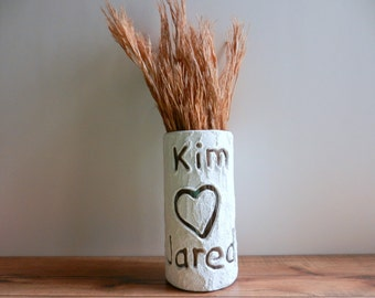 Custom Couple Gift / Vase with name carving / Personalized gift / wedding gift / customized vase / made-to-order by Carriage Oak Cottage