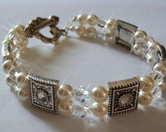 Two-stranded Cream Pearl Swarovski bracelet