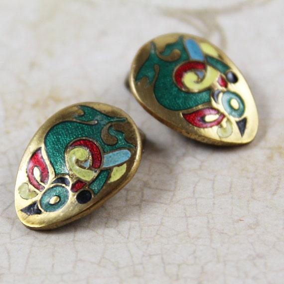 tara ware enamel vintage clip on earrings by scdvintage