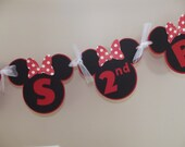 Minnie Mouse Inspired Banner Birthday Hot Pink Polka Dot - Custom Made to Match Your Party or Event