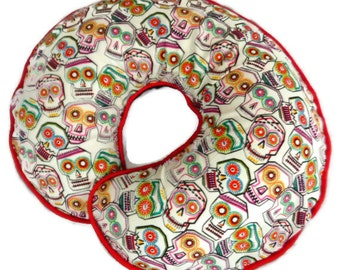Boppy Pillow Cover White Day of Dead Skulls Nursing Pillow Cover for baby boy or girl