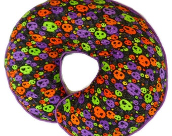 Baby Skulls Nursing Pillow Cover Purple, Lime and Orange - fits Boppy Pillows