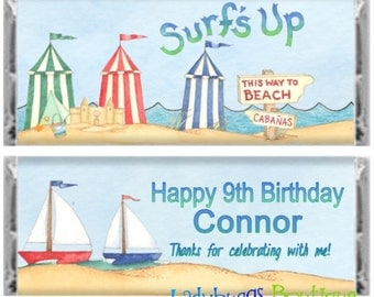Surf's Up Sailboat Happy Birthday Party Candy Bar Wrapper Personalized Favor