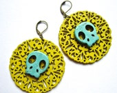 Day of the Dead Jewelry Collection, yellow and turquoise wood cut earrings