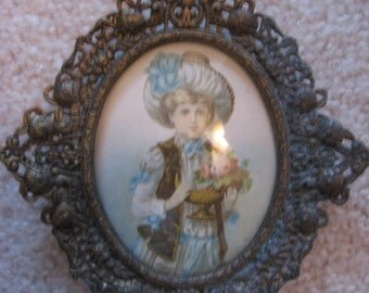 FRAME Miniature Ornate Frame Antique French Louis XVI style brass frame Miniature for Portrait