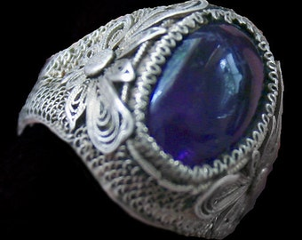 Stunning Art Deco Old Chinese Amethyst  Filigree Sterling Silver Vintage Ring