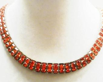 Beautiful Pink Crystal Rhinestone Vintage Collar Vintage Necklace