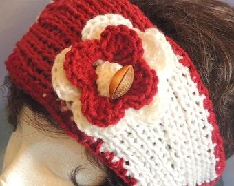 CLEARANCE SALE Crimson & Cream Stripe Football Fan Knitted Headband With Crocheted Flower