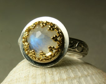 Gold Moonstone Engagement Ring,14k Gold, Sterling Silver Floral Band, Faceted Stone, custom sized
