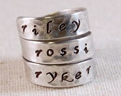 Custom Ring Sterling Silver Ring Personalized Mothers Ring Hand Stamped Ring Name Ring Triple Wrap Ring