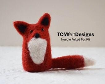 Needle Felting Fox Kit, wool DIY complete fiber kit for beginners