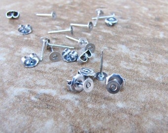 24 pcs 4mm TITANIUM Post Earring Posts with Backs - 11.5mm long Nickel Free