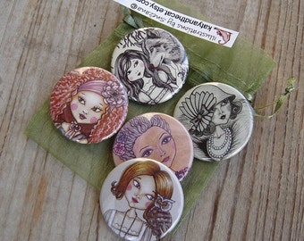 Set of 5 pinback buttons(1.5 Inch)