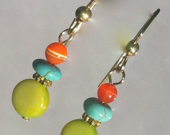 Earrings lime orange