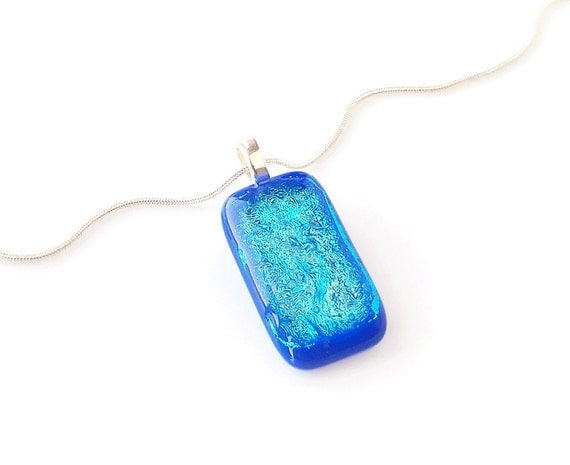 Blue-Green Dichroic Rectangle Pendant, Fused Glass Necklace