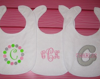 3 Personalized Bibs Gift Set Baby Girl Monogram Initial Name You Choose 3 Colors